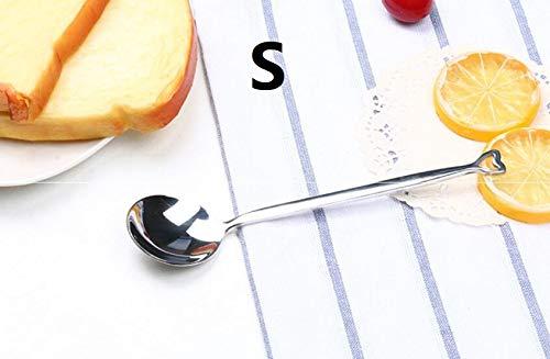 Genven Neue Küchenhelfer Herzförmigen Edelstahl Löffel Geschirr Kaffeelöffel tragbare Geschenk (S Silber)