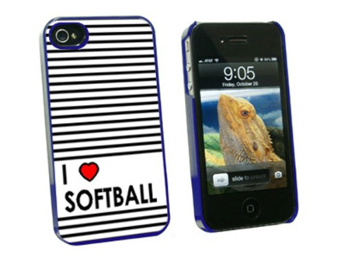 Graphics and More I Love Herz Softball Sony Hard Schutzhülle für Apple iPhone 4/4S – Umständen - Softball 4 Fall Iphone