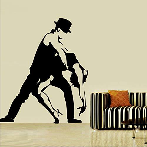 Großhandel Tango Wandaufkleber Schwarz Silhouette Wohnzimmer Abnehmbare Tanz Wohnkultur Aushöhlen Wandtattoos 58 * 67 Cm