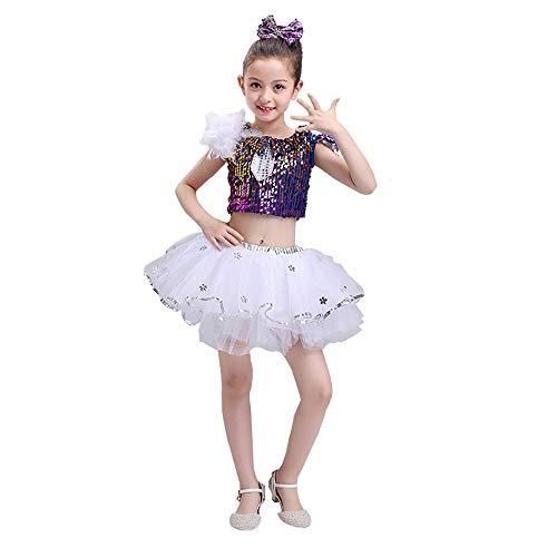 Ethnischer Kostüm Tanz - YONGMEI Mädchen Tanz Kostüm, Pettiskirt, Skater, Shiny Sequins Jungen Pailletten Jazz Dance Performance Kostüm (Color : Blue, Size : Girl-120cm)