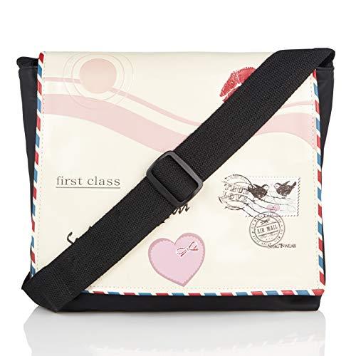 Shagwear Junge-Damen Umhängetasche, Schultertasche, Cross Body Bag:Verschiedene Farben und Designs: (Liebesbrief Beige/Love Letter)