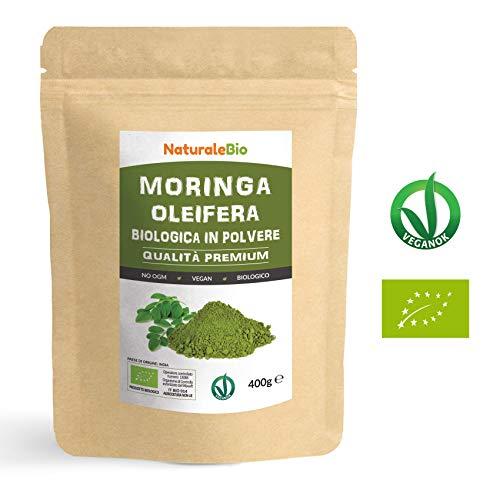 Moringa Oleifera Bio in Polvere [ Qualità Premium ] 400g. 100% Biologica, Naturale e Pura. Foglie Raccolte dalla Pianta di Moringa Oleifera. Superfood Ricco di Antiossidanti e Nutrienti. NaturaleBio