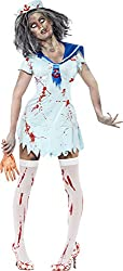 Smiffy's Women's Zombie Sailor Costume Female with Blood Splatter Dress and Hat, Blue, Small
