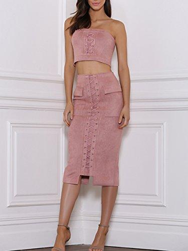 Simplee Apparel - Robe - Moulante - Femme Rose