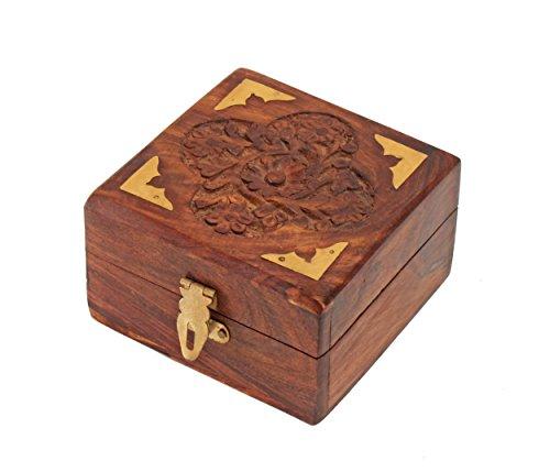 Store Indya Decorative Wooden Small Jewellery Trinket Box Handcrafted Multipurpose Keepsake Storage Organiser