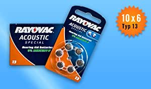 N°13 / ORANGE - 60 Piles Auditives RAYOVAC Acoustic Special 13