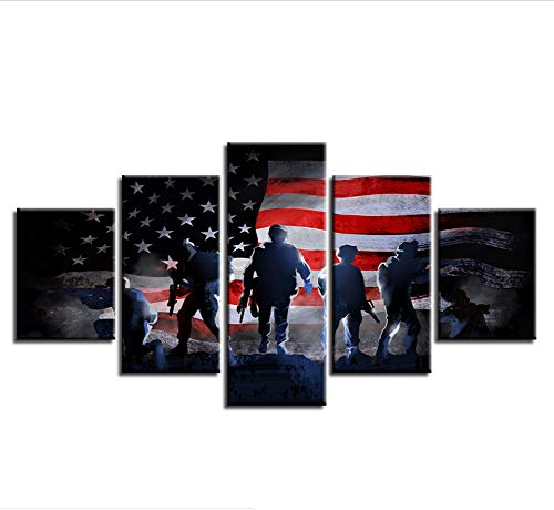 zmnbaa Kein Rahmen Modular Canvas Painting Wall Artwork Hd Prints 5 Pieces Soldiers with American Flag Pictures Retro Abstract Poster Decor
