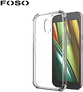 Moto E3 Silicon Transparent Flexible with Protective Shock Proof Corner Case Cover by FOSO(™)