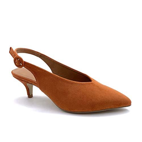 Working Girl Fashion (Angkorly - Damen Schuhe Pumpe - Open-Back - praktisch handlich - Working Girl - Basic - Basic Stiletto 5 cm - Camel BC352 T 39)