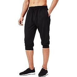 NAVISKIN 3/4 Pantalones Capri de Fitness para Hombre Pirata Pants Atléticos Deportivos Correr Térmicos Chándal Deporte Yoga Running Entrenamiento Bolsillos con Cierre Negro S