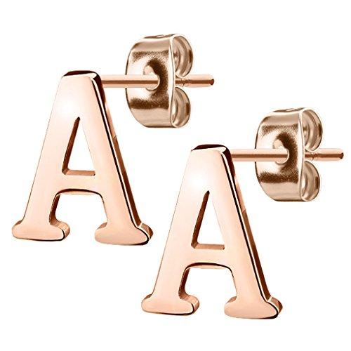 Mianova Damen Kinder Ohrstecker Ohrringe Stecker mit Buchstaben Alphabet Edelstahl in Rosegold IP Buchstabe A