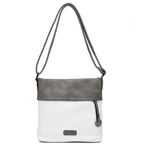 CASAdiNOVA - Damen Umhängetasche - Crossbody Bag mit Schulterriemen - PU Leder Schultertasche - Messenger Handtasche mit Reißverschluss (Large, Weiß) - Leder Messenger Handtasche