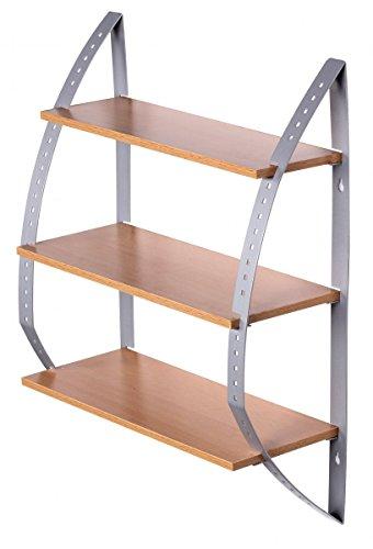 FineBuy Wandregal KITY Holz/Metall mit 3 Böden 40 x 50 x 15 cm offen | Design Hängeregal zur Aufbewahrung | Küchenregal Wandboard modern