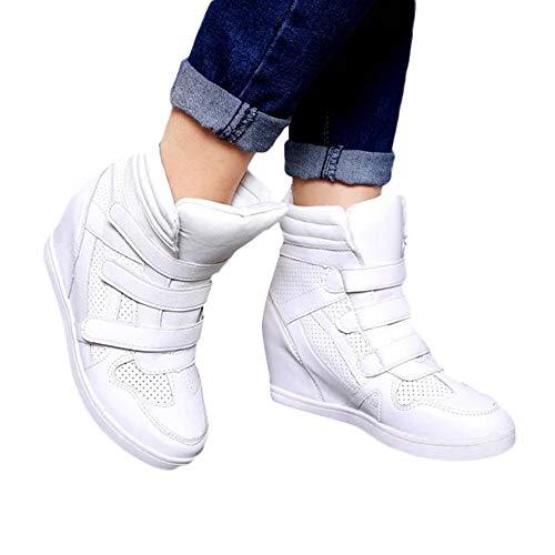 63ec0dbd Longra Zapatos de Deporte con Parte Superior Gruesa con Parte Superior de  Velcro, Zapatillas Antideslizantes