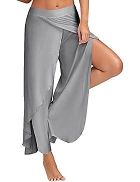 Pantalones Mujer De Yoga Largos Anchos Tallas Grandes Color Sólido Con Aberturas Hippie Pantalon Jogging Deporte...