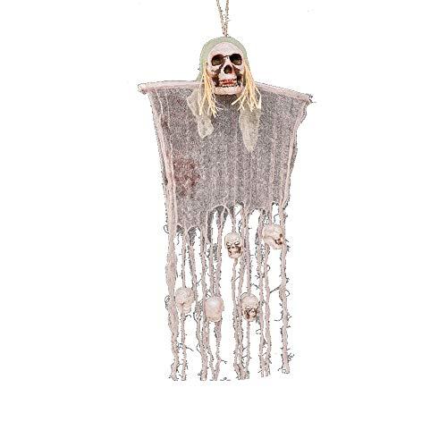 Halloween Hanging Spooky Skull Décor Pirates Cadavre Crâne Porte suspendue Maison hantée Bar Jardin Décor, fête d'Halloween Décoration (Paille Corde ()