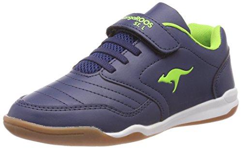 KangaROOS Unisex-Kinder Vanderyard Sneaker, Blau (Dk Navy/Lime), 28 ()