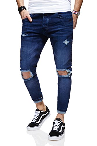 Behype Herren Destroyed Jeans-Hose Slim-Fit 80-3299