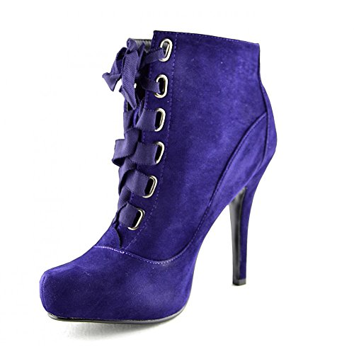 Kick Footwear - Donna Womens Lace Up Heels Ankle Boot , Tacchi a Spillo Caviglia Boots Viola