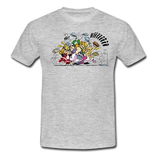 Spreadshirt Asterix & Obelix - Prügelei Männer T-Shirt, XL, Grau meliert