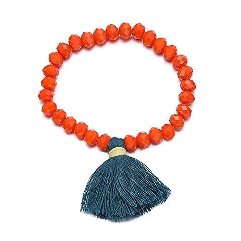 eManco Multicolore de Bois Perles Extensibles Bracelet avec Pompon Charms pour les Femmes Bijoux (Orange)
