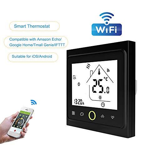 Blusea WiFi-Thermostat mit Touchscreen-LCD-Anzeige Wöchentlicher programmierbarer, energiesparender, intelligenter Temperaturregler für die Wasserheizung 3A - Programmierbare Wärmepumpe Thermostat