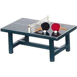 Ogquaton Dollhouse Miniature - Table DE PING-Pong avec BALLES ET Raquettes Haute Qualité