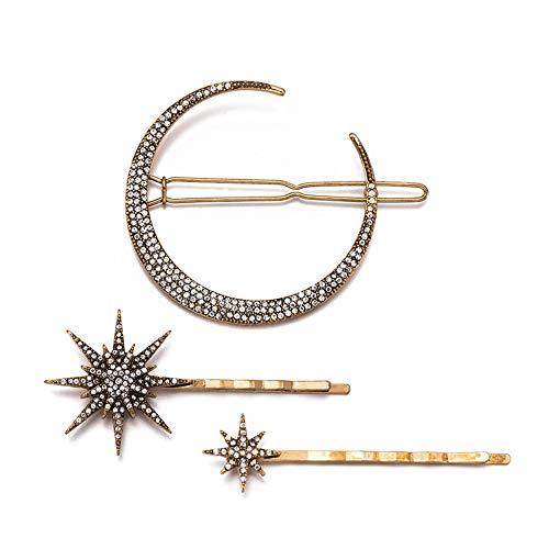 Capelli Mollette, 3pcs Set Lega Diamond Moon Star Hair clip Bobby Pins per le Donne e Ragazza, Bellezza Hair Styling Accessori - 3pcs Set
