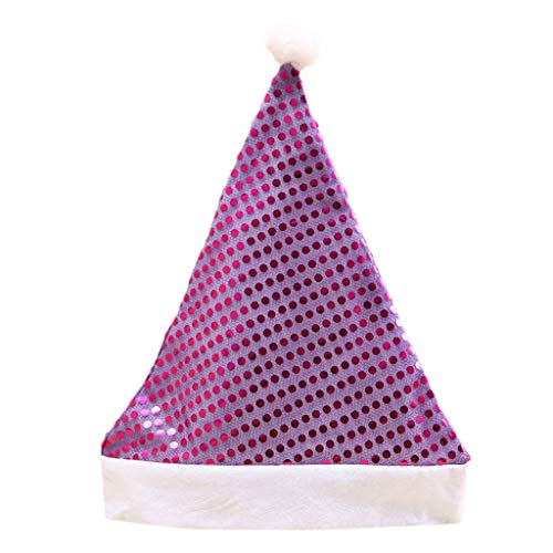 Wiffe Kid Erwachsene Weihnachten Hut Glitter Pailletten Pompon Ball Santa Claus Cap Party Kostüm (lila) (Santa Lila Kostüm)