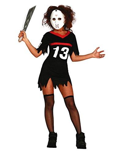 Eishockey Serienkiller Damenkostüm mit Maske für Halloween & Horror-Film Fans M (Eishockey Halloween Kostüm)