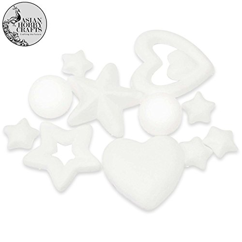 AsianHobbyCrafts Thermocol Ball Shape :12pcs : Assorted Shape