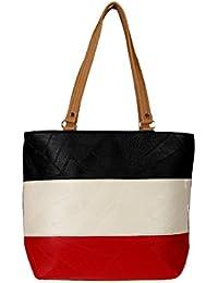 Zapatoz Women's Plain Multicolor Leatherite Tote Bag (Tote-H-BL-whit-red)
