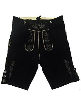 Kurze schwarze Lederhose - Lederhosen - schwarze Trachtenlederhose Größe 52 - Trachten Lederhose in schwarz
