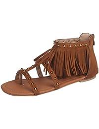 QinMM Damen Fashion Einfarbig Niet Quasten Flachen Absatz Sandalen Rom Schuhe Strand Sandalen Schuhe Atmungsaktive...