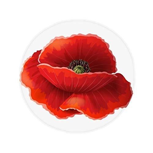 DIYthinker Fleur Rouge Peinture Corn Poppy Art antidérapant Tapis de Pet de sol rond de salle de bain salon cuisine Porte 60/50 cm Cadeau, Polyester filé, multicolore, 60X60cm