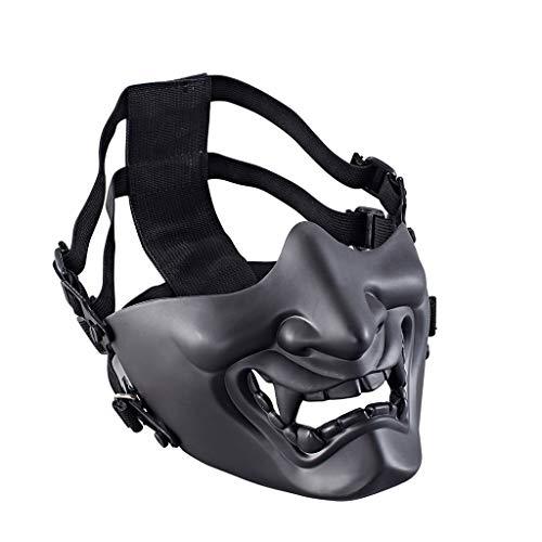Kostüm Clown Beängstigend Weibliche - Maske, Chshe TM, Halloween-Requisite Halber Gesichtsschutz Samurai-Maske Cosplay-Spiele Outdoor-Maske(Schwarz)