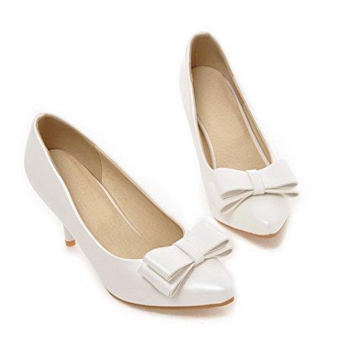 AllhqFashion Damen Spitz Zehe Ziehen Auf Pu Leder Hoher Absatz Rein Pumps Schuhe Weiß