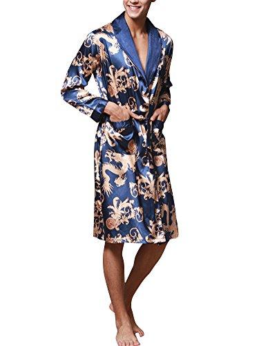 Herren Lange Klassische Schlafanzüge Charmeuse Morgenmantel Homewear Kimono Satin Bademäntel Robe Königliches Blau XX-Large