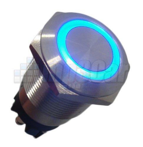 CarNetix argento in acciaio inox led blu illuminato momentanea Pulsante interruttore 22mm