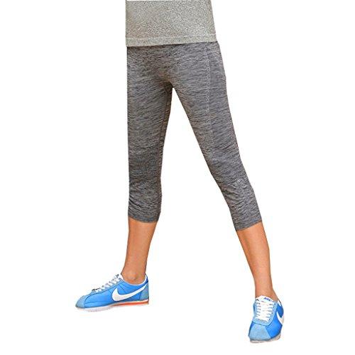 Qutool Pantalon de sport pour femme yoga, entraînement, course à pied Gris