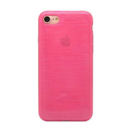 iProtect iPhone 7 e iPhone 8 Clear Crystal Soft Case custodia in TPU 0,3mm trasparente Sabbiato fucsia