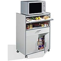 Habitdesign 009910O - Mueble auxiliar mesa cocina con un cajón y dos  puertas, color Marrón, medidas: 92 x 59 x 40 cm de fondo