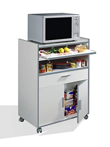 Habitdesign 009910O - Mueble auxiliar mesa cocina con un cajón y dos puertas, color Marrón, medidas...