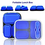 Collapsible Folding Lunch Box with 3 Compartments, Airtight, Leak Proof, Microwave, Freezer and Dishwasher Safe, BPA Free Silicone Food Storage Containers - Bento Box Lunch Box for Adults and Kids