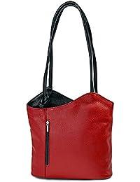 ital elegante Glatt Leder Schultertasche Rucksack 2in1 Handtasche rot schwarz , 27-32x30x9 cm (B x H x T)