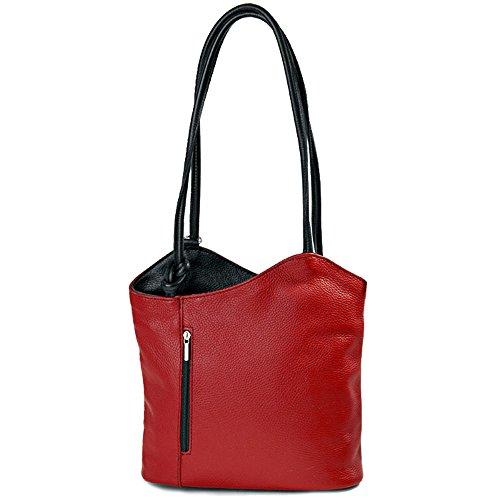 IO.IO.MIO leichter Damen Leder Rucksack Handtasche Schultertasche Umhängetasche Daypack Tagesrucksack Backpack Frauen Tasche 2in1 Damenrucksack rot schwarz, 27-32x30x9 cm (B x H x T)
