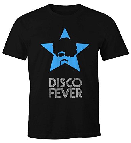 Cooles Herren T-Shirt Disco Party Fever Fun Shirt Moonworks® Disco Fever blau