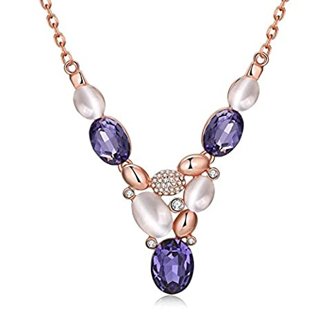 AMDXD Bijoux Plaqué or pendentif Colliers pour femme Or rose Bohème Violet ovale Cristal Collier