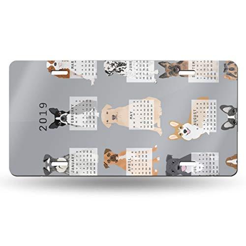 Alice_Home_Collect 2019 Hundekalender, Geschirrtuch, Kalender, graues Aluminium, Nummernschild, Schminkschild, Wanddekoration, Auto Fahrzeug