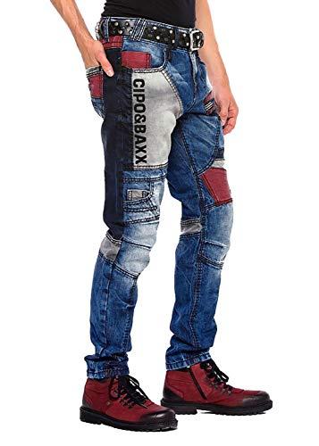 Cipo & Baxx Herren Jeans Hose Denim Biker Style Slim Fit Nähte Taschen Design Modern Freizeit Streetwear Clubwear (33W / 32L)